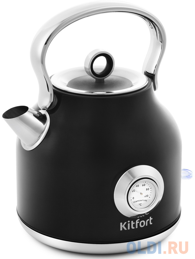 Чайник электрический KITFORT КТ-673-2 2200 Вт чёрный 1.7 л нержавеющая сталь чайник электрический kitfort кт 636 2200 вт серебристый 1 л нержавеющая сталь