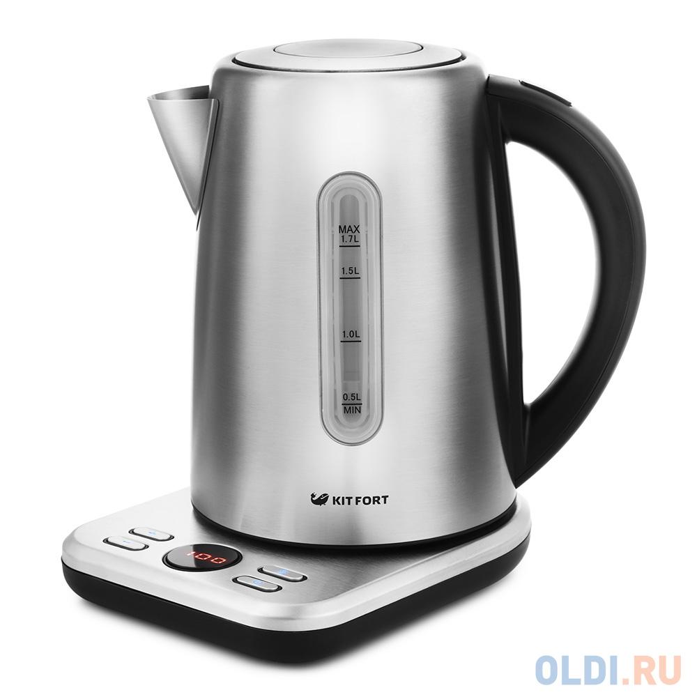 Чайник электрический KITFORT КТ-661 2200 Вт серебристый 1.7 л металл чайник электрический scarlett sc ek21s95 2200 вт серебристый чёрный 1 8 л металл