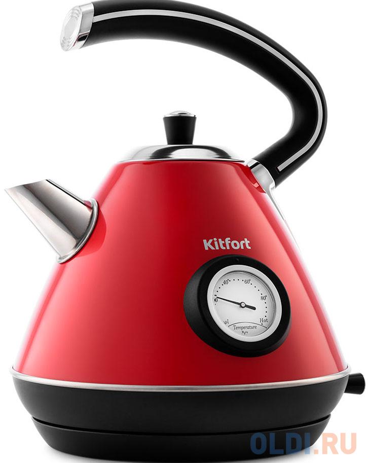 Чайник электрический KITFORT KT-686-1 2200 Вт красный 1.7 л нержавеющая сталь чайник kitfort kt 642 1 2200 вт розовый чёрный 1 7 л металл пластик