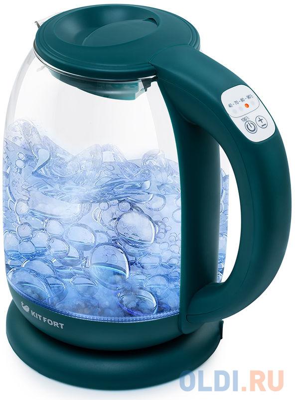 Чайник электрический KITFORT КТ-640-4 2200 Вт изумрудный 1.7 л пластик/стекло чайник kitfort кт 655 2200 вт чёрный 2 л пластик стекло