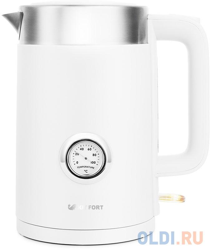 Чайник электрический KITFORT КТ-659-1 2200 Вт белый 1.7 л пластик чайник kitfort кт 655 2200 вт чёрный 2 л пластик стекло