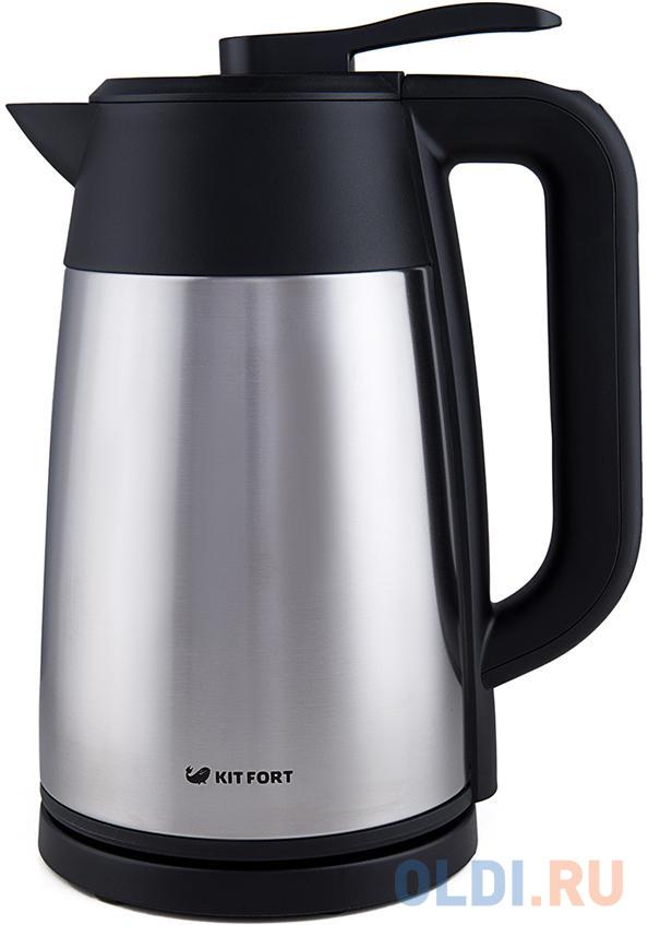 Чайник KITFORT КТ-620-2 2200 Вт серебристый чёрный 1.7 л нержавеющая сталь чайник braun wk 600 2200 серебристый 1 7 л нержавеющая сталь