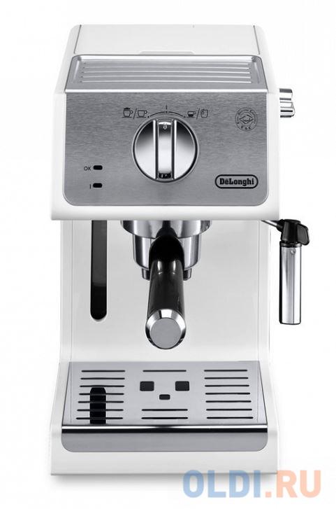 Кофемашина DeLonghi ECP 33.21.W, полуавтомат, капучино, 1100Вт, 15 бар, автооткл, белый