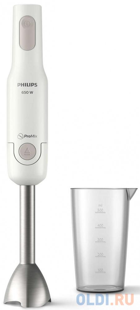 Блендер Philips/ Погружной блендер, мощность 650Вт, 1 скорость, технология смешивания ProMix, отсоединение одной кнопкой, аксессуар стакан. Материал: пластик, металл. Цвет: белый.