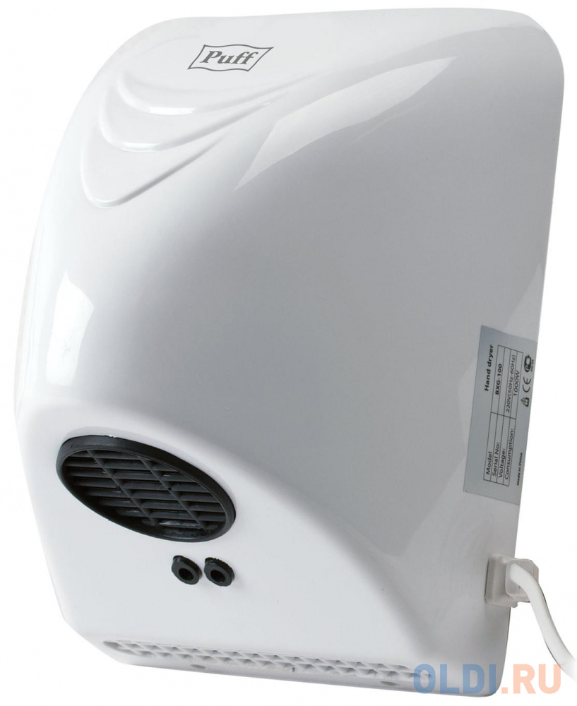 Сушилка для рук Puff PUFF-8814 800Вт белый 601418.