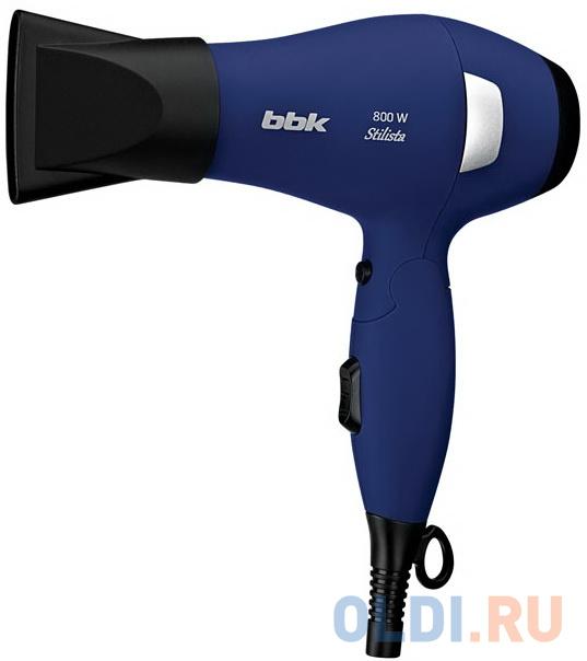 Фен BBK BHD0800, компактный, холодный обдув, 2 режима нарева, 2 скорости, складная ручка, темно-синий
