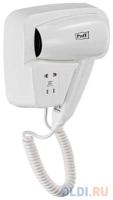 Фен для волос Puff-1200B 1405.002  1.2кВт белый с доп. розеткой.