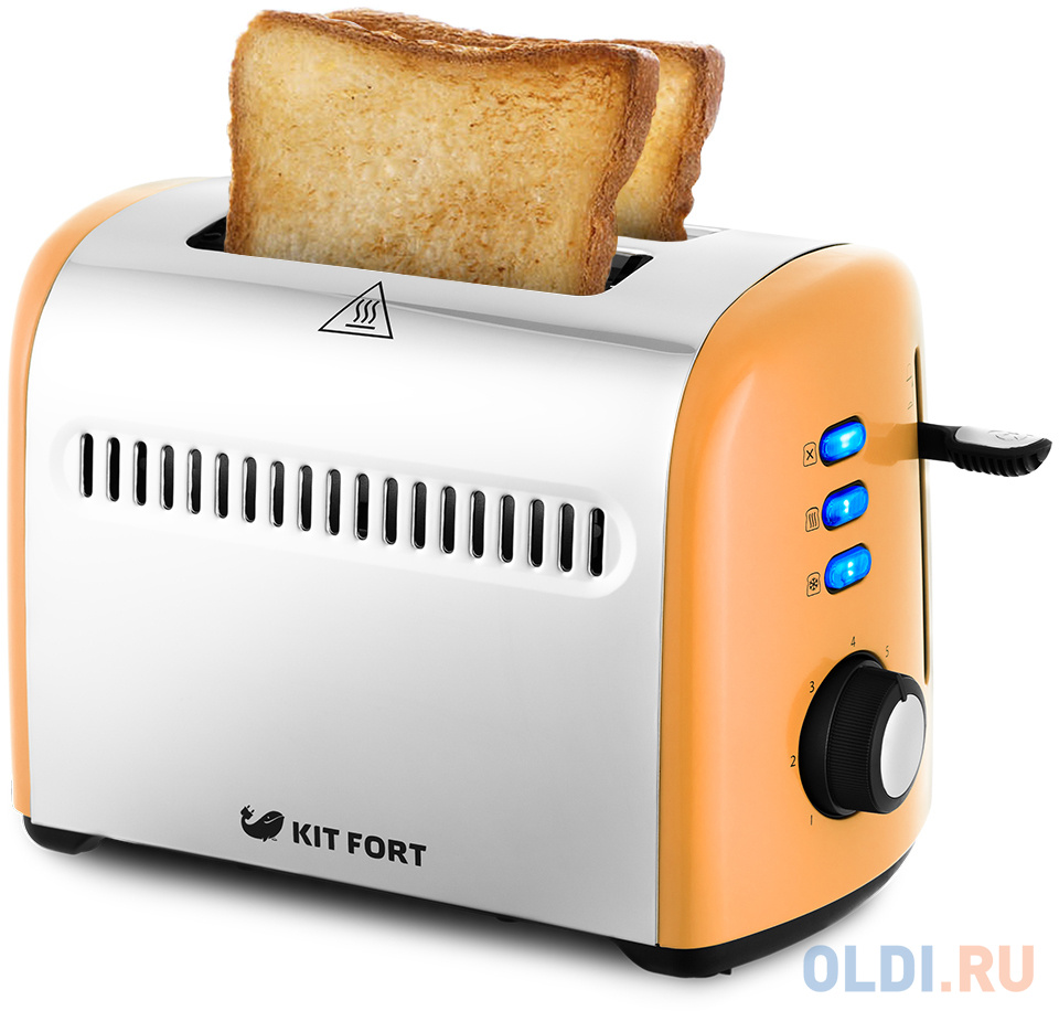 Тостер Kitfort КТ-2026-3 950Вт оранжевый/серебристый тостер kitfort кт 2038 3 серый