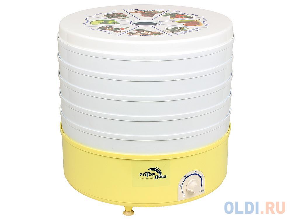 Сушилка для овощей и фруктов Ротор-Дива СШ 007 (007-04) (5 поддонов, цветная упаковка, вент, 600Вт, вес 5кг, объем сушильной камеры 20л, Барнаул)