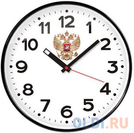 Часы настенные TROYKA 77770732 круг белые черная рамка 305х305х4 см.