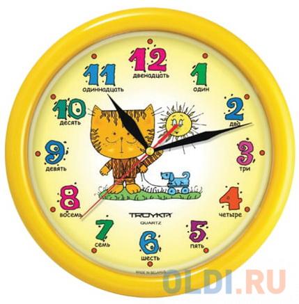 Фото - Часы настенные TROYKA 21250290, круг, желтые с рисунком Котенок, желтая рамка, 24,5х24,5х3,1 см саморез tech krep 102234 ы универсальные 30х3 5мм 200шт желтые коробка с ок