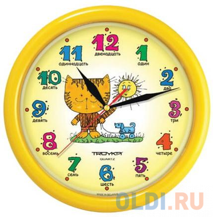 Часы настенные TROYKA 21250290 круг желтые с рисунком Котенок желтая рамка 245х245х31 см.