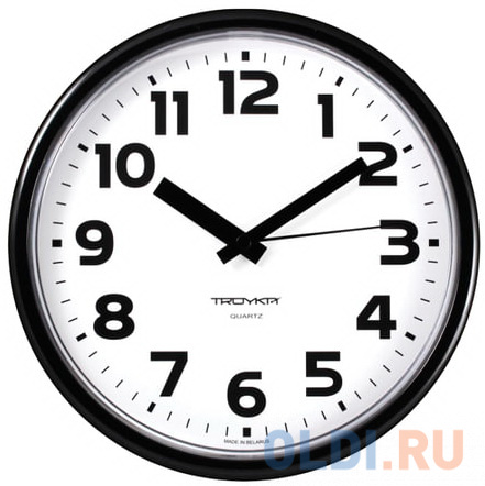 Часы настенные TROYKA 91900945 круг белые черная рамка 23х23х4 см.