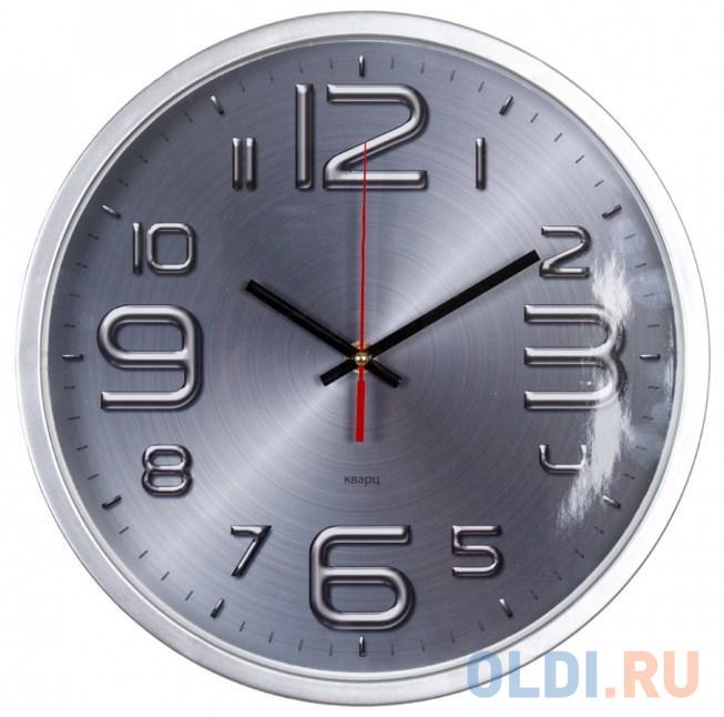 Часы настенные аналоговые Бюрократ WALLC-R82P D30см серебристый