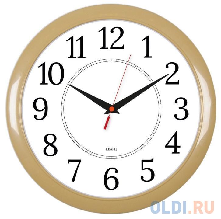 Часы настенные аналоговые Бюрократ WALLC-R88P D29см бежевый/белый