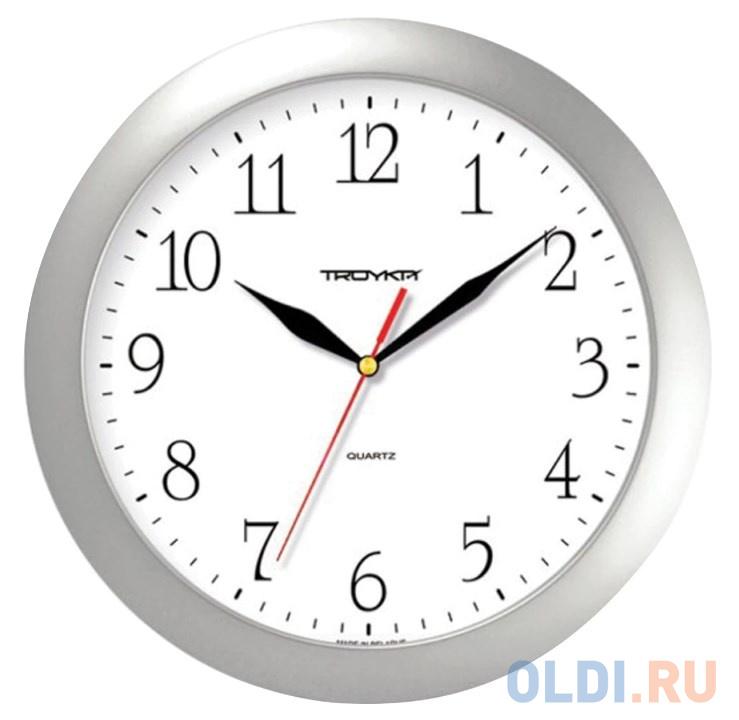 Часы настенные TROYKA 11170113 круг белые серебристая рамка 29х29х35 см.