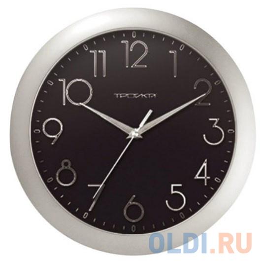 Часы настенные TROYKA 11170182 круг черные серебристая рамка 29х29х35 см.