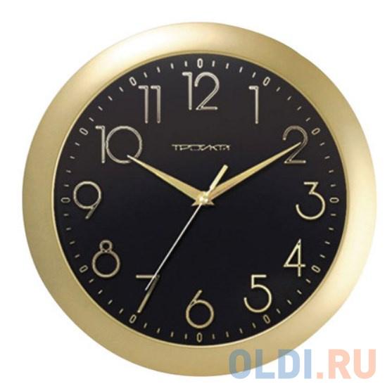 Часы настенные TROYKA 11171180 круг черные золотая рамка 29х29х35 см.