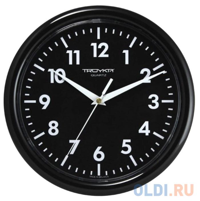 Часы настенные TROYKA 21200204 круг черные черная рамка 245х245х31 см.