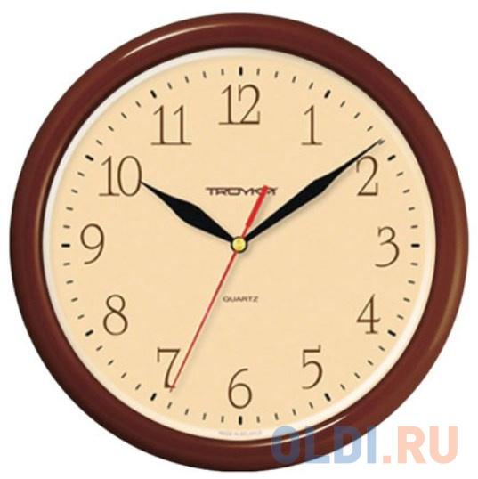 Часы настенные TROYKA 21234287 круг бежевые коричневая рамка 245х245х31 см.