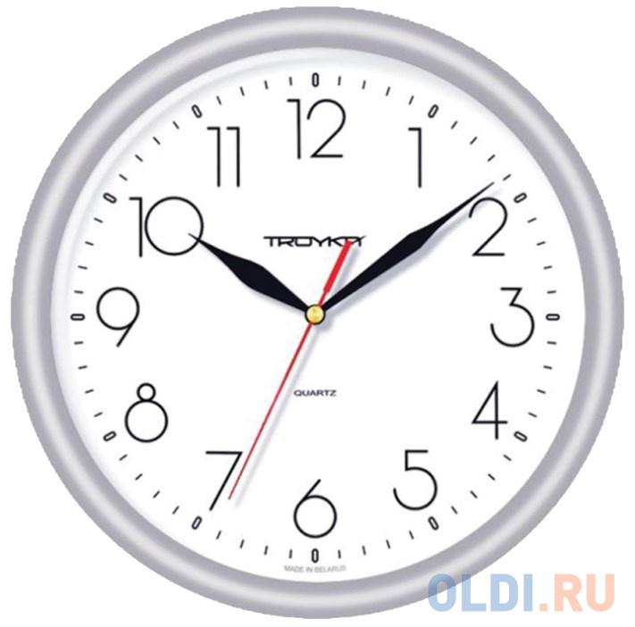 Часы настенные TROYKA 21270212 круг белые серебристая рамка 245х245х31 см.