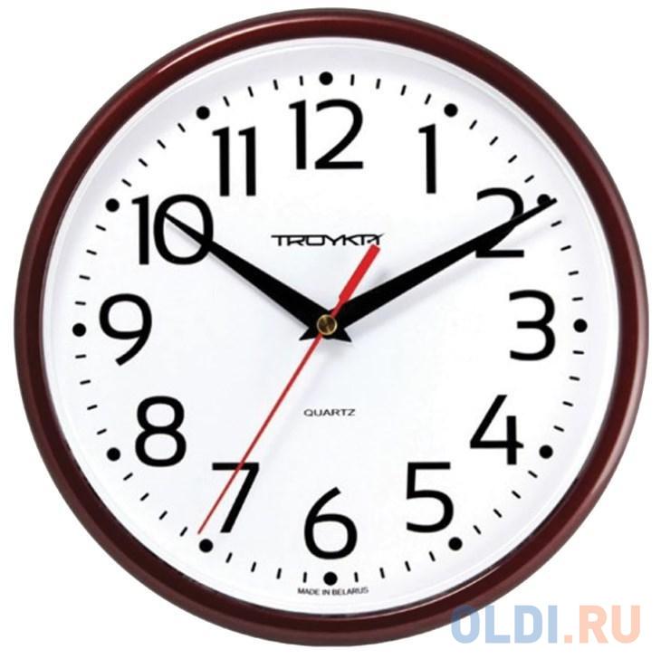 Часы настенные TROYKA 91931912 круг белые коричневая рамка 23х23х4 см.