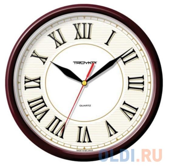 Часы настенные TROYKA 91931915 круг белые коричневая рамка 23х23х4 см.