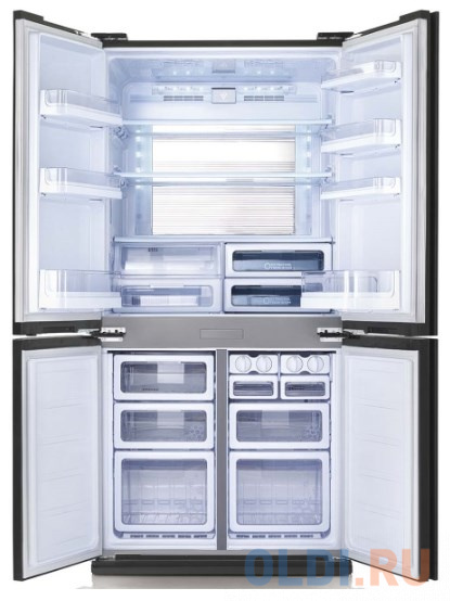 Холодильник Sharp/ 183x89.2x77.1 см, объем камер 394+211, No Frost, морозильная камера снизу,черный