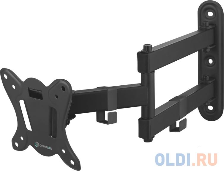 Кронштейн ONKRON/ 17-27'' макс 100*100 мм, 2 колена, наклон -+ 8?, поворот: 180°, от стены 65-408 мм, макс вес 25кг, черный фото