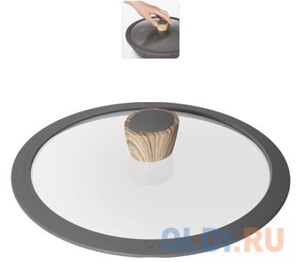 Стеклянная крышка с силиконовым ободом, 24 см, NADOBA, серия MINERALICA стеклянная крышка с силиконовым ободом lota 24 см 751413 nadoba