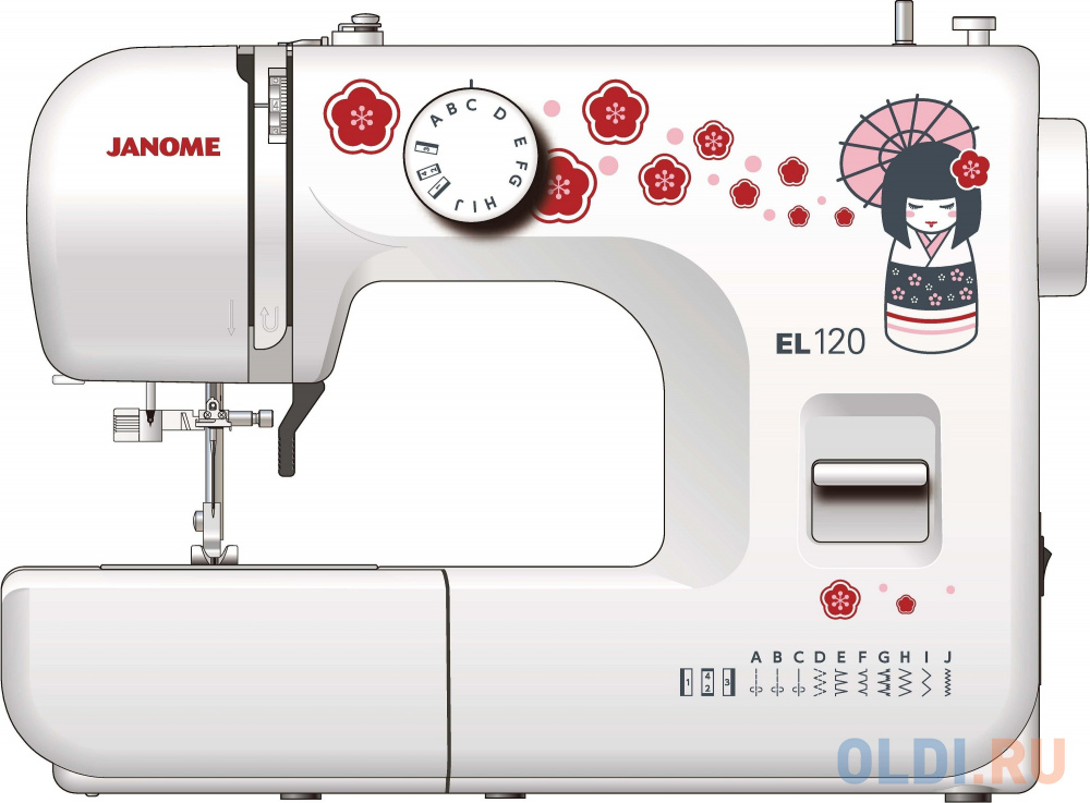 Швейная машина Janome EL120 белый/рисунок швейная машина janome 2020