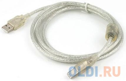 Cablexpert Кабель USB 2.0 Pro, AM/BM, 1,8м, экран, феррит.кольцо, прозрачный (CCF-USB2-AMBM-TR-6) аксессуар gembird cablexpert pro usb 2 0 am bm 1 8m transparent ccf usb2 ambm tr 6