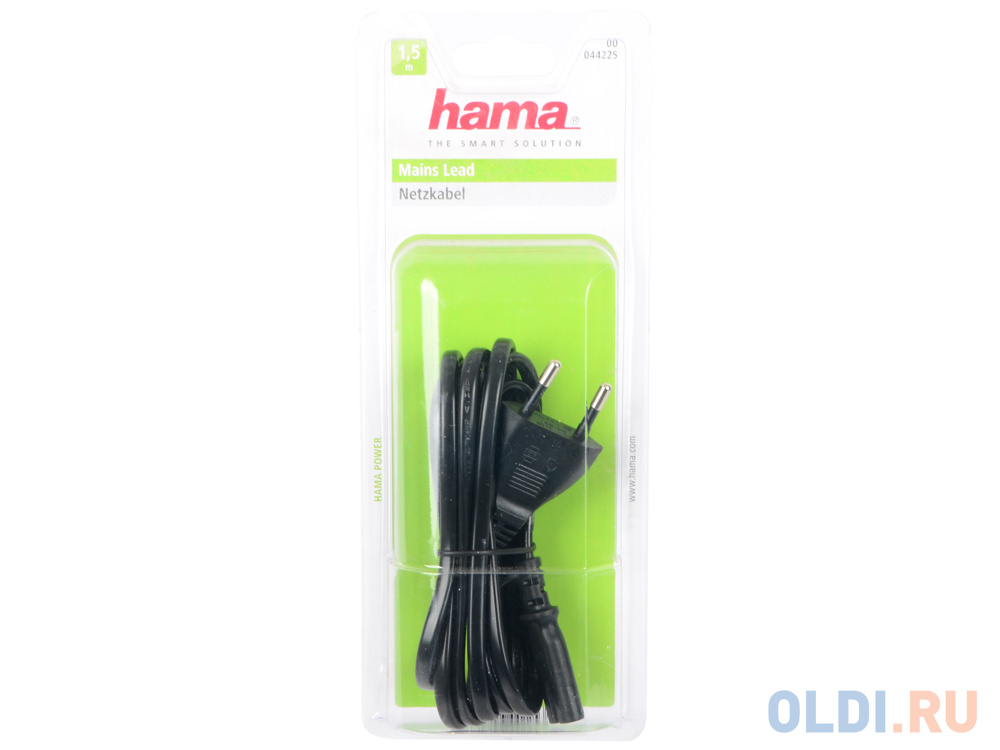 Кабель питания для бытовой электроники 1.5м Hama H-44225 черный