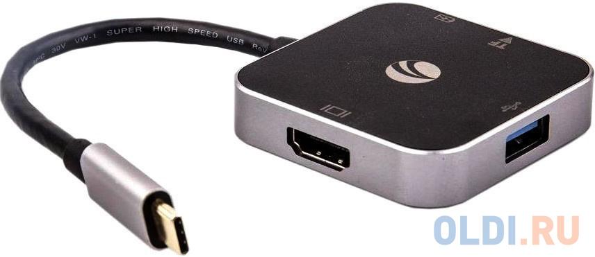 Фото - VCOM CU457 Адаптер USB3.1 Type-CM-->HDMI+USB3.0+PD charging, TF, Aluminum Shell, VCOM док станция vcom usb 3 1 type c m hdmi usb 3 0 rj45 pd cu455