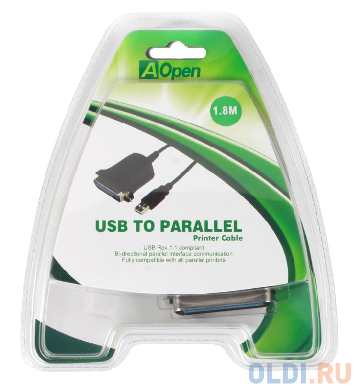 кабель адаптер orient ulb 201n usb to lpt ieee 1284 b 36pin centronics кабель 0 8м пакет Кабель-адаптер USB 2.0 AM-LPT 1.8м Aopen ACU806 прямое подключение к LPT порту принтера