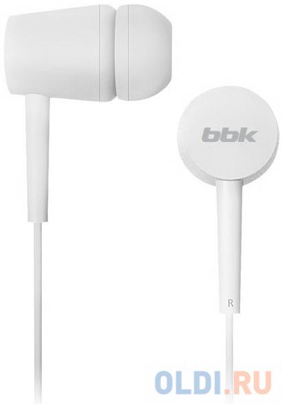 Наушники вкладыши BBK EP-1002S 1.2м белый проводные (в ушной раковине) наушники philips she4305wt вкладыши белый проводные