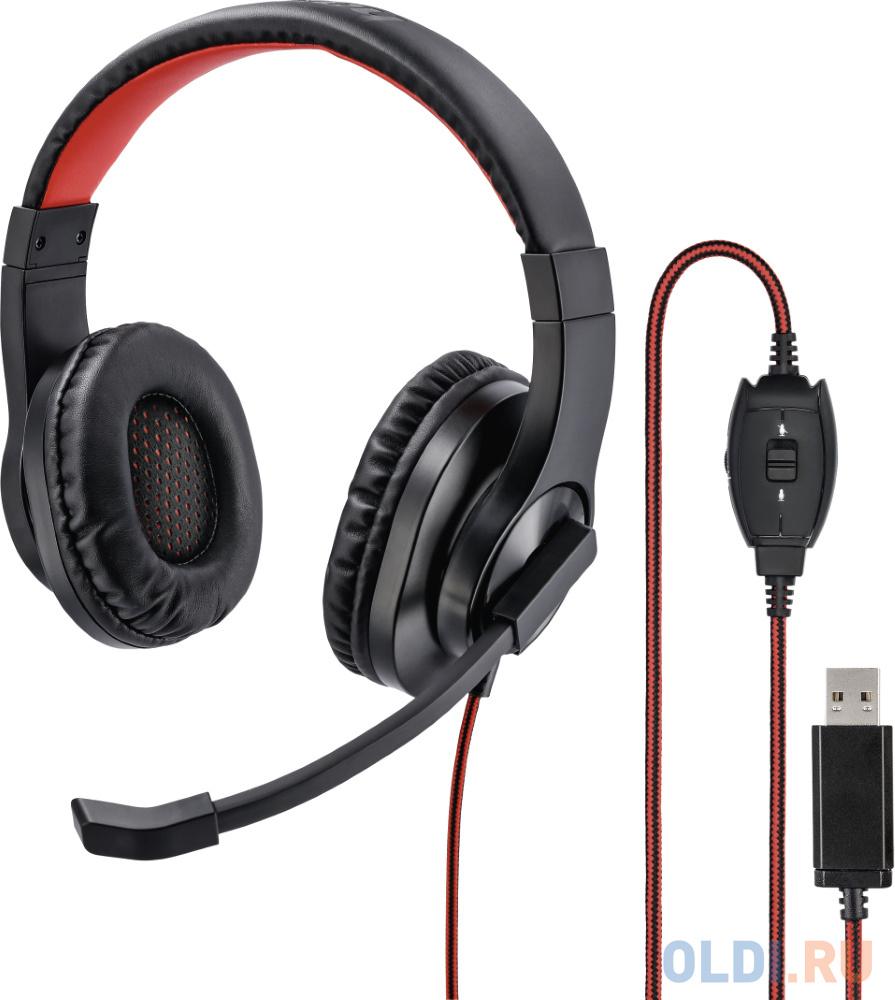 Фото - Наушники с микрофоном Hama HS-USB400 черный/красный 2м накладные оголовье (00139927) наушники с микрофоном hama urage soundz 310 черный серый 2 5м накладные usb оголовье 00186023