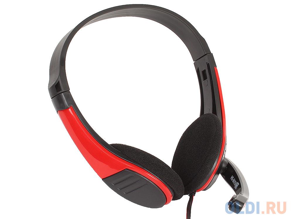 Гарнитура Oklick HS-M150 черный/красный 2м накладные