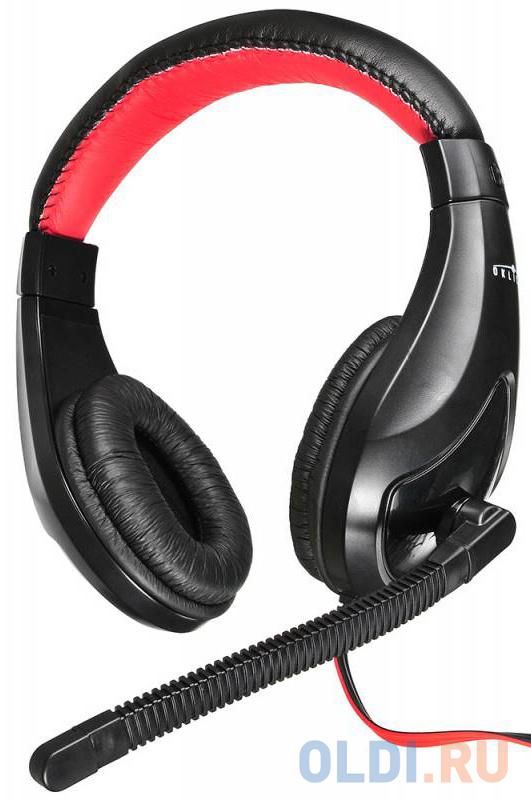 Гарнитура Oklick HS-L100 черный/красный 2м мониторы