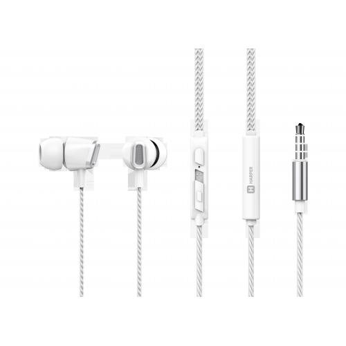 Наушники HARPER HV-406 / Проводные / Внутриканальные с микрофоном / Белый / 20 Гц - 20 кГц / 103 дБ / Двухстороннее / Mini-jack / 3.5 мм недорого