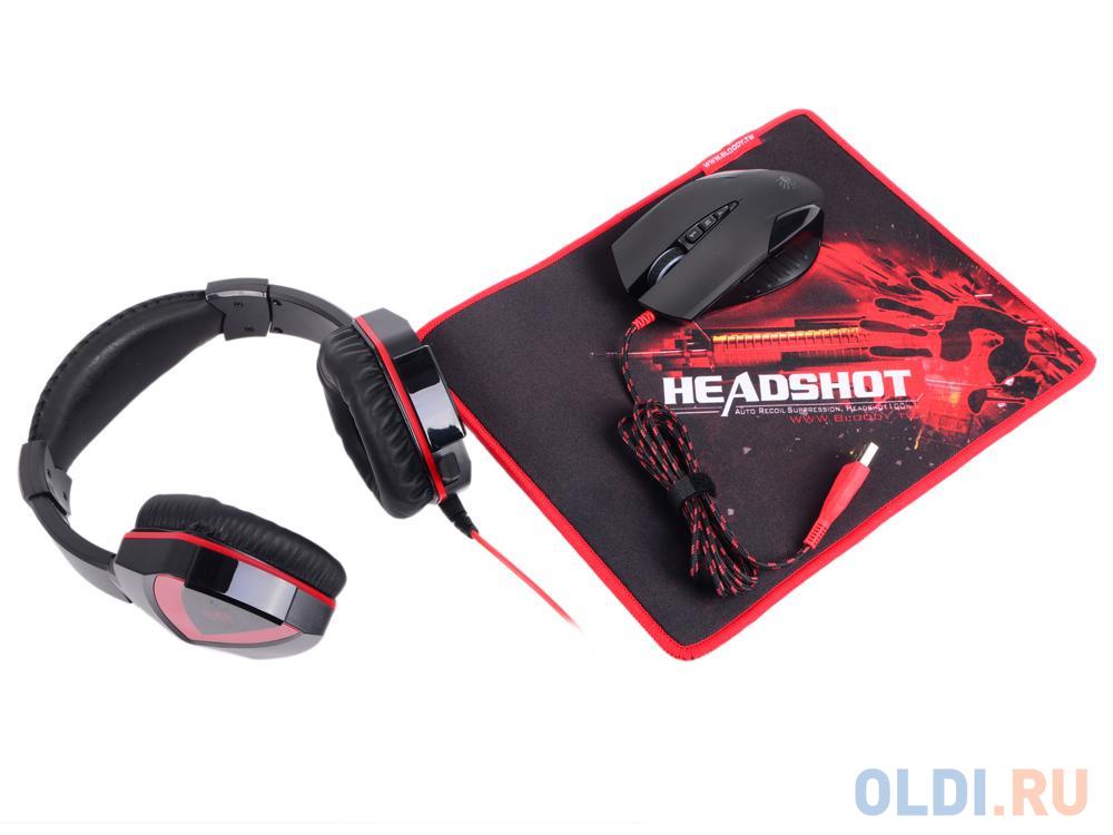 Набор игровой A4Tech Bloody Наушники с микрофоном A4 G500 + Мышка V5 + Коврик B-072 черный/красный 2.2м мониторы (V5G5PB72)