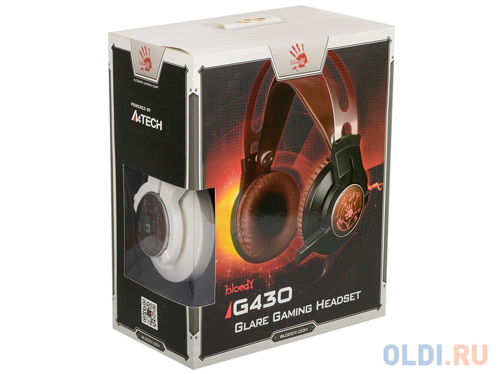 Гарнитура A4Tech Bloody G430 черный/коричневый 2.2м наушники a4tech bloody g430 black