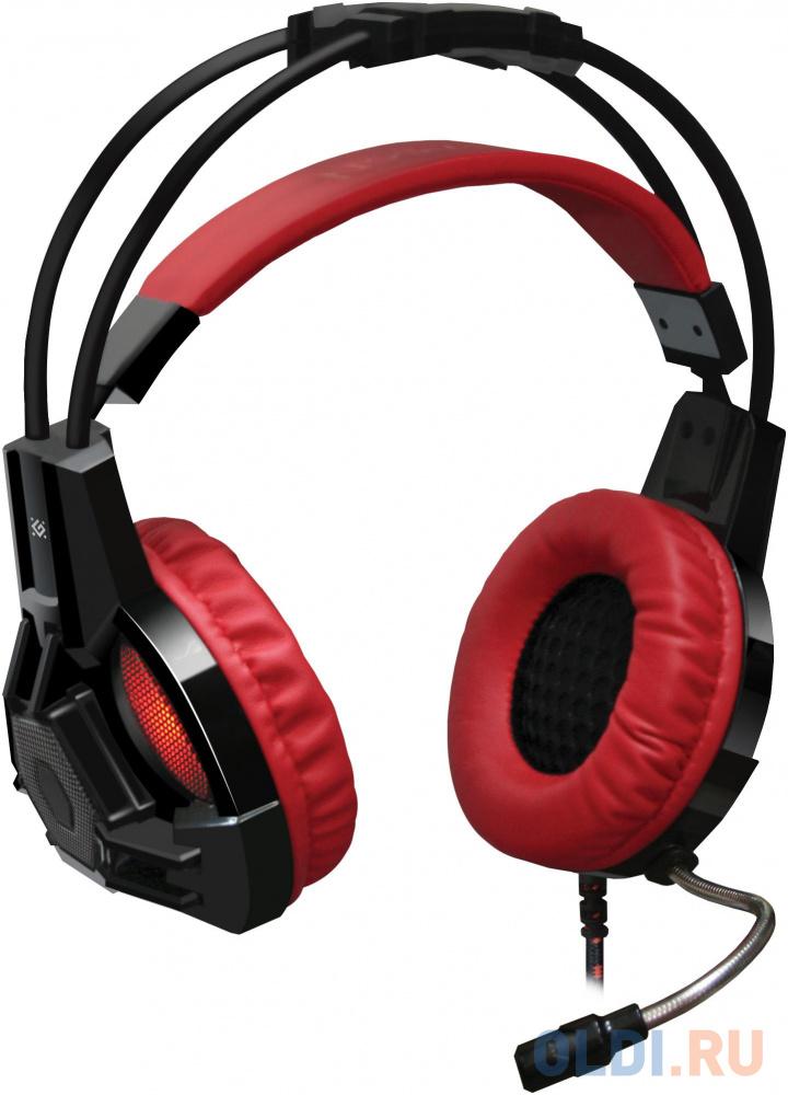 Гарнитура Defender Lester красный + черный, кабель 2,2 м