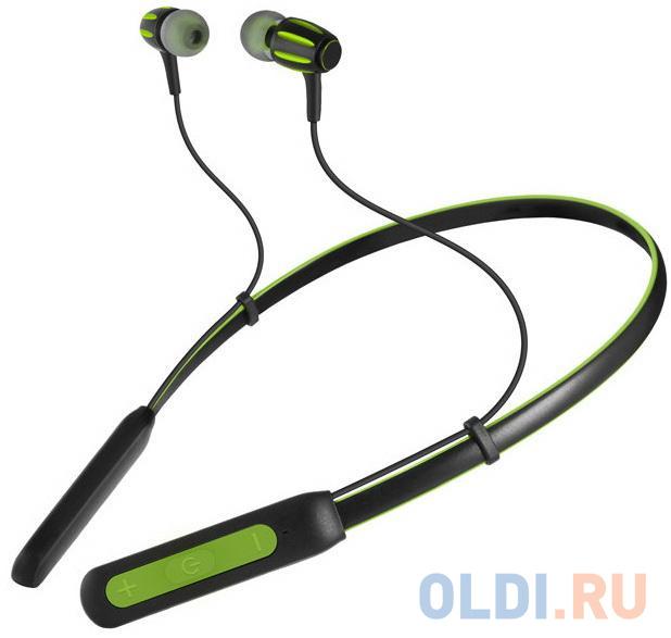 Беспроводные внутриканальные наушники с микрофоном SVEN E-235B, черный-зеленый (Bluetooth)