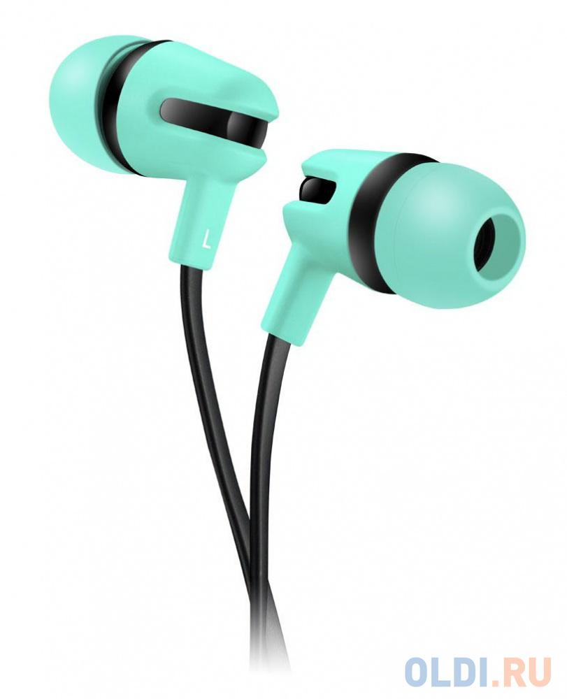 Стереонаушник с микрофоном, плоский кабель 1,2 м, зелены