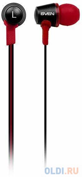 Гарнитура вкладыши Sven E-190M 1.2м черный/красный проводные в ушной раковине гарнитура sven e 211m 3 5 мм вкладыши белый