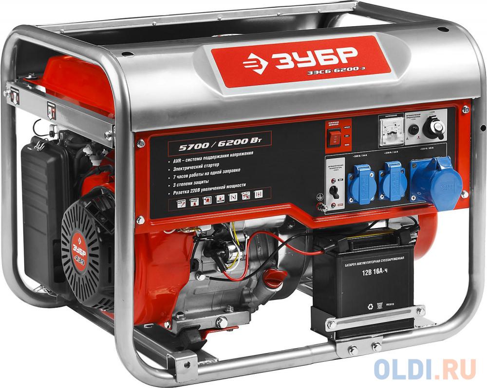 Генератор ЗУБР ЗЭСБ-6200-Э  бензиновый 4-х тактный ручной и электрический пуск 6200/5700Вт 220/12в.