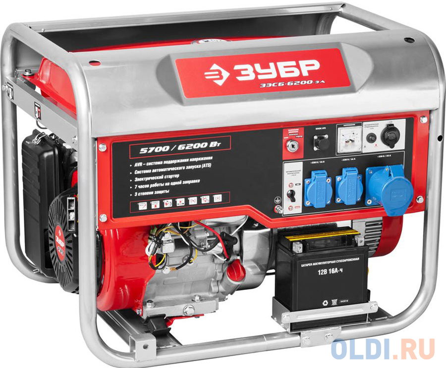 Бензиновый генератор ЗУБР ЗЭСБ-6200-ЭА  6200/5700Вт 220/12В 4ткт ручной и эл.пуск автопуск.