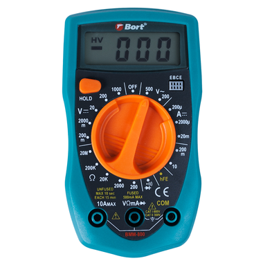 Мультитестер Bort BMM-800 0-750V / 0-1000V, 0-10A, 0-2MОм
