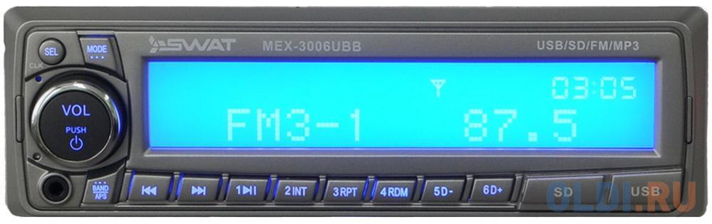 Фото - Автомагнитола Swat MEX-3006UBB 1DIN 4x50Вт магнитола swat mex 1021uba